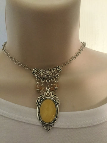 Sliver and Yellow Vintage Cameo Necklace /Free Shipping - Oracle Jewelry - 1