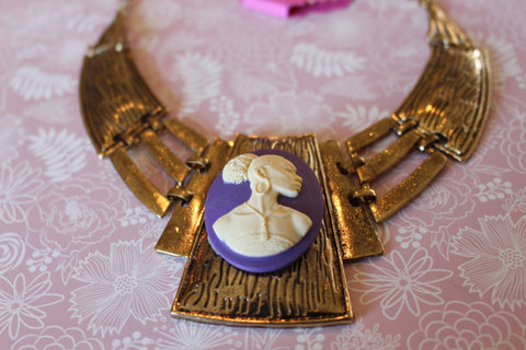 Vintage Cameo in Gold And Purple necklace/Free Shipping - Oracle Jewelry - 1