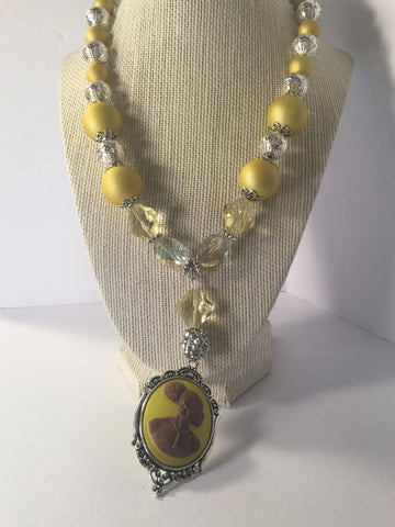 Yellow Vintage Cameo necklace/Free Shipping - Oracle Jewelry - 1
