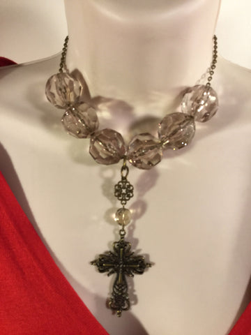 Bronze And Clear Cross Necklace/Free Shipping - Oracle Jewelry - 1