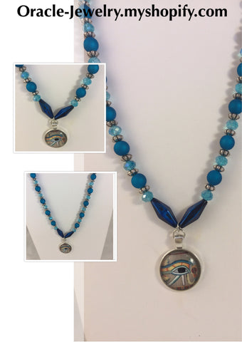 Egyptian blue Eye of Horus Necklace/Free Shipping - Oracle Jewelry - 1