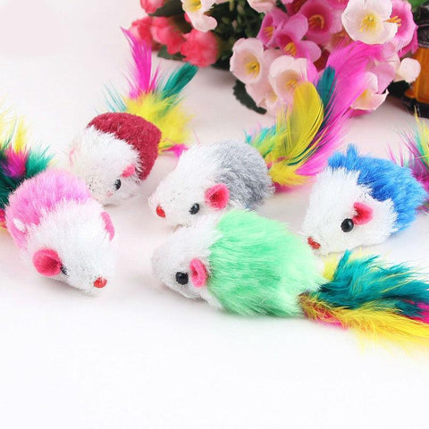 Cat Toys - Foxy Kitties - 10 Soft Fleece Toy Mice