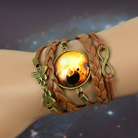 Charm Bracelets - Foxy Braided Galaxy Leather Bracelet
