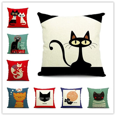Cushion - Foxy Kitty Cat Throw Cushions Pillows Covers