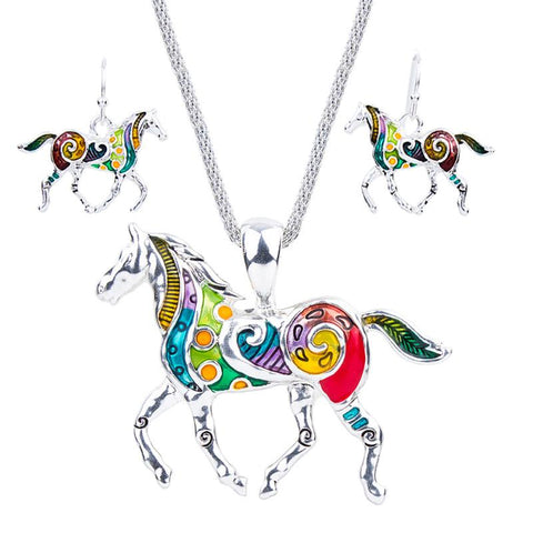Jewelry Sets - Foxy Fashion Horse Necklace & Earring Set