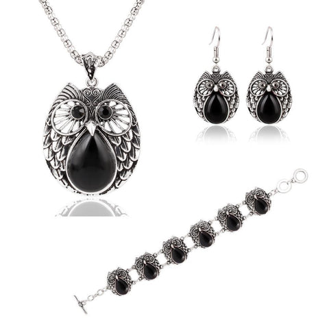Jewelry Sets - FREE Foxy Style Silver Plated Vintage Owl Pendant, Drop Earrings & Bracelet