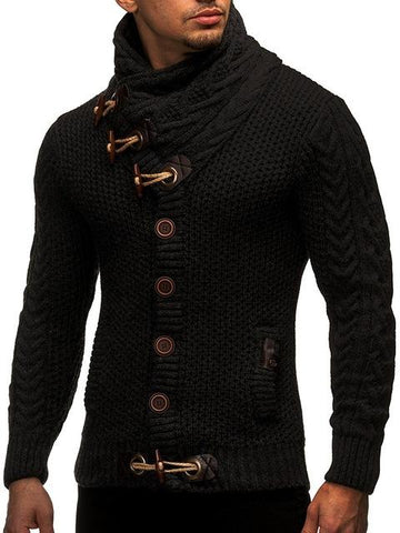 Men's Cardigan - Turtleneck Cardigan