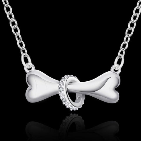 Pendant Necklaces - Silver Plated Dog Bone Necklace For Dog Lovers