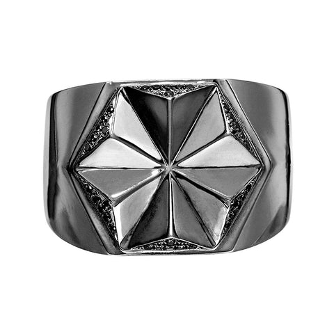 DELTA Men's ID Diamond Signet Ring Silver