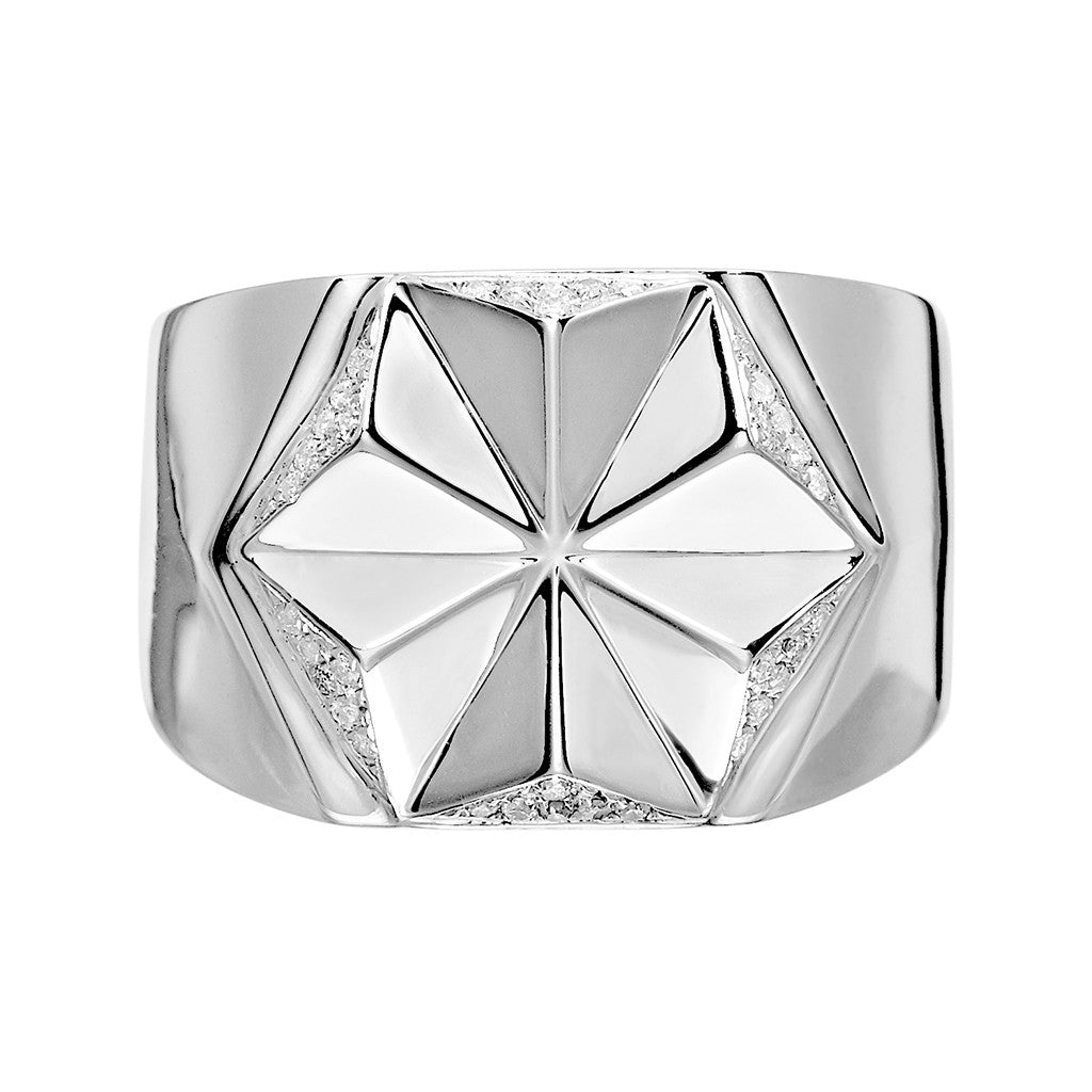 DELTA Men's Star Diamond Signet Ring Silver
