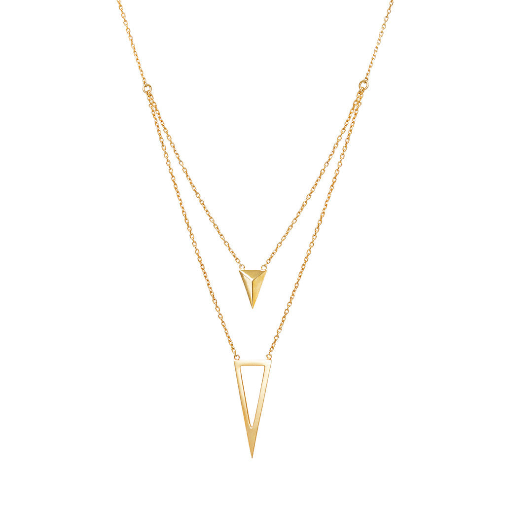 Arrow and triangle necklace 925 sterling silver from MAYAYUEN DELTA collection