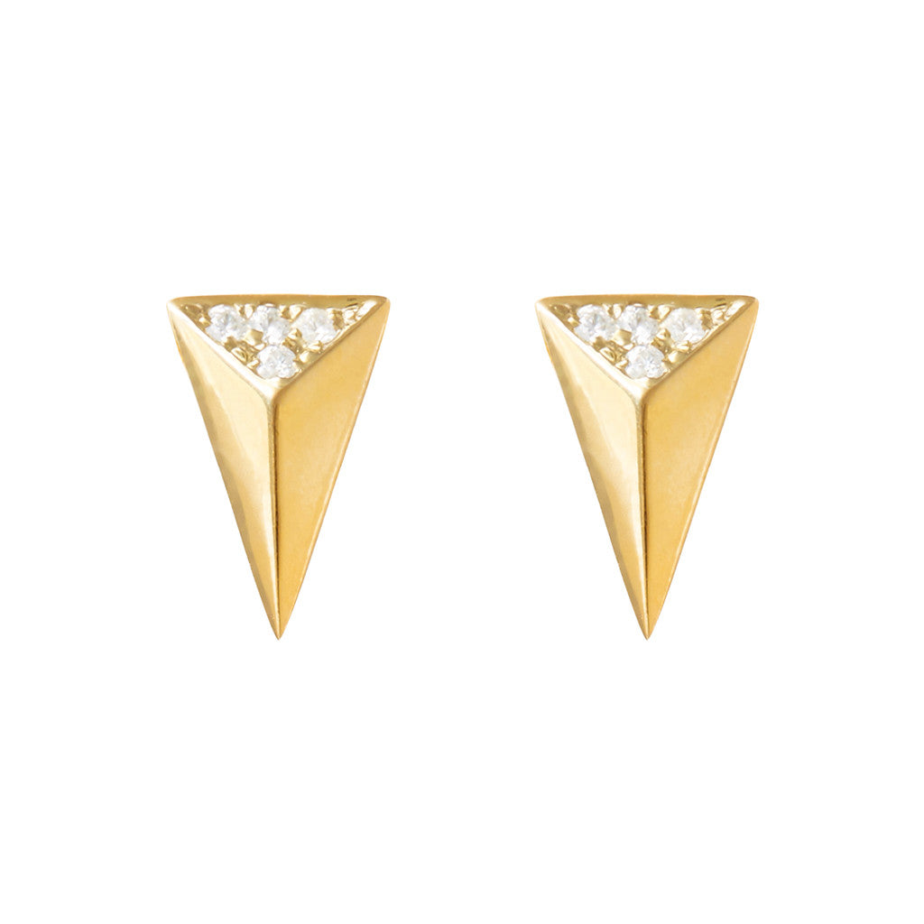 Signature arrow studs 925 sterling silver studded with cubic zirconia