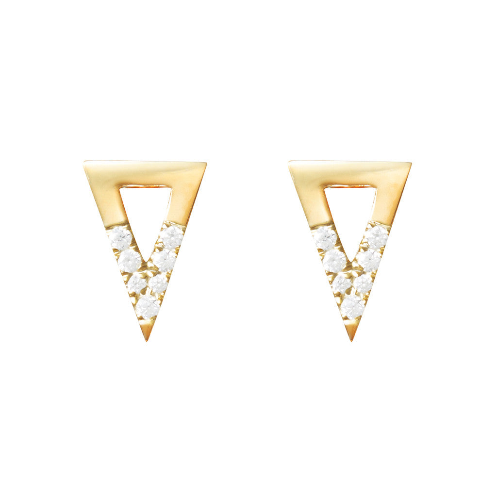 Triangle studs 925 sterling silver studded with cubic zirconia