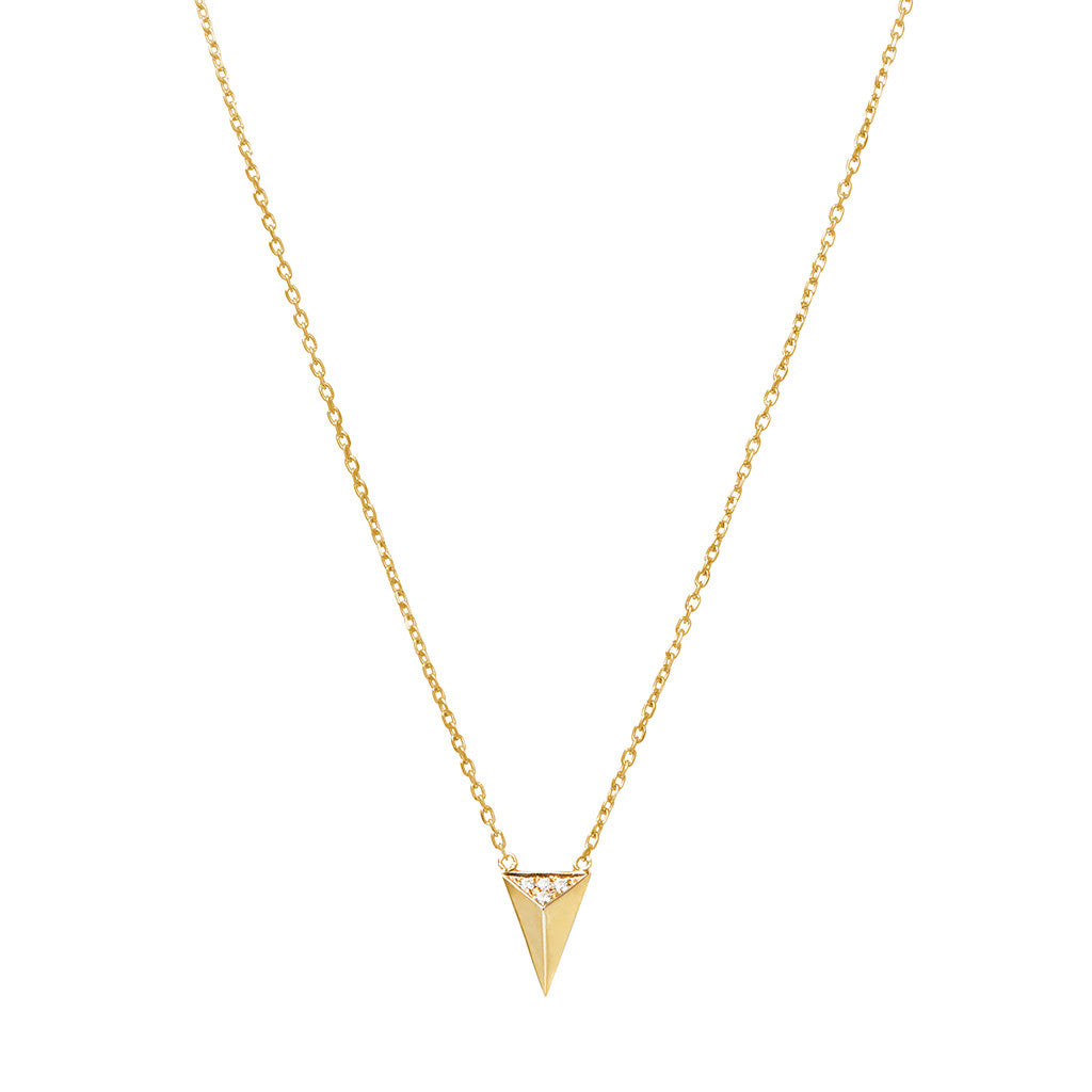 Signature arrow necklace 925 sterling silver studded with cubic zirconia