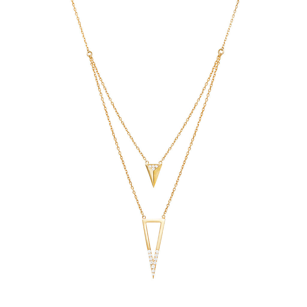 Arrow and triangle necklace 925 sterling silver studded with cubic zirconia