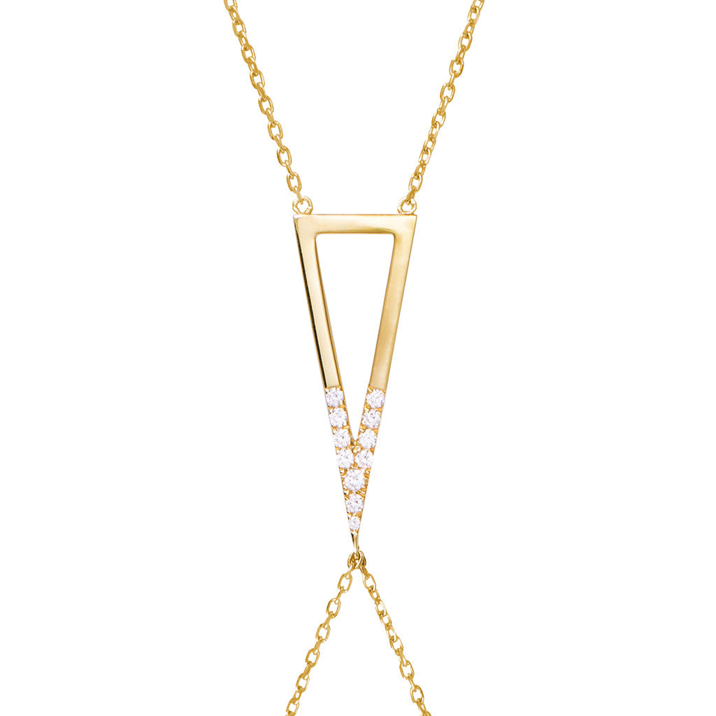Signature 925 sterling silver body chain with cubic zirconia