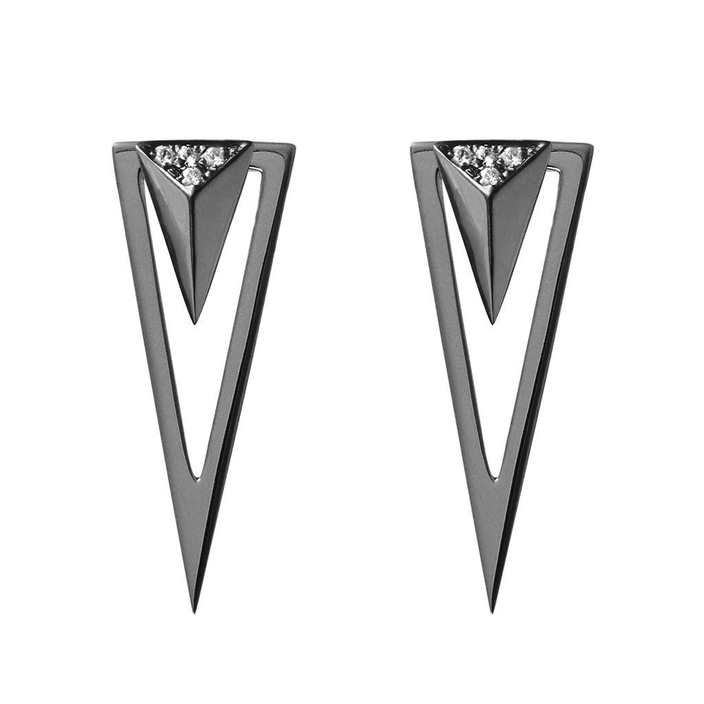 Arrow and triangle earjacket set black plated 925 sterling silver earrings studded with cubic zirconia