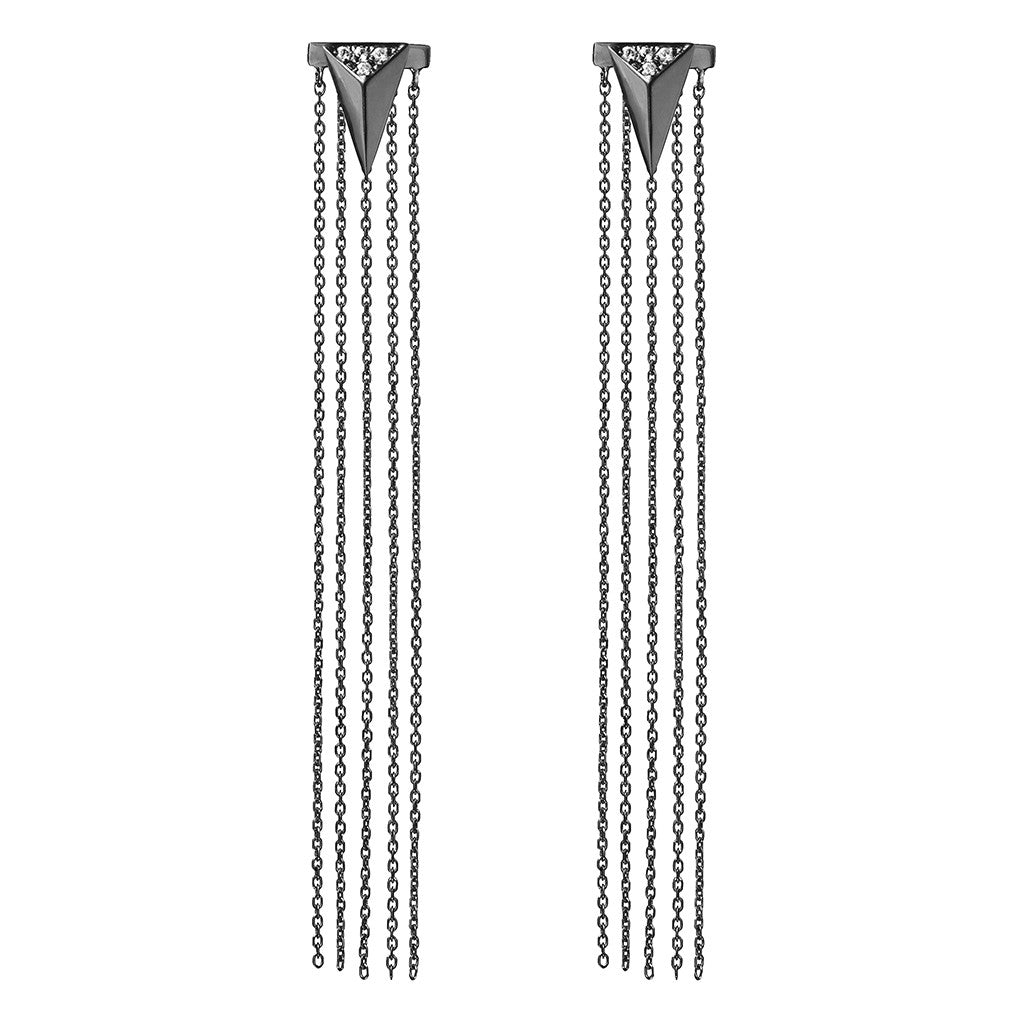 Arrow and tassel earjacket set black plated 925 sterling silver earrings studded with cubic zirconia