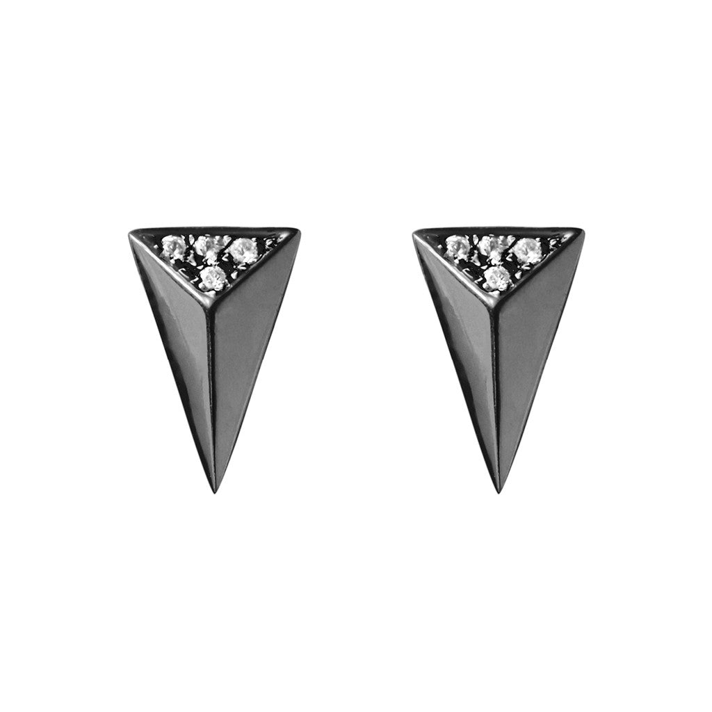 Signature arrow studs black plated 925 sterling silver studded with cubic zirconia
