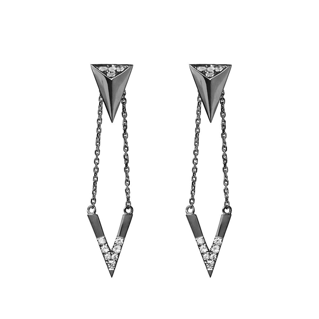 Arrow and pendant black plated 925 sterling silver earrings studded with cubic zirconia