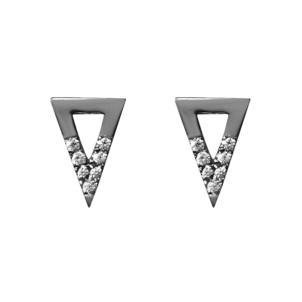 Triangle studs black plated 925 sterling silver studded with cubic zirconia