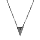 Signature arrow necklace black plated 925 sterling silver studded with cubic zirconia