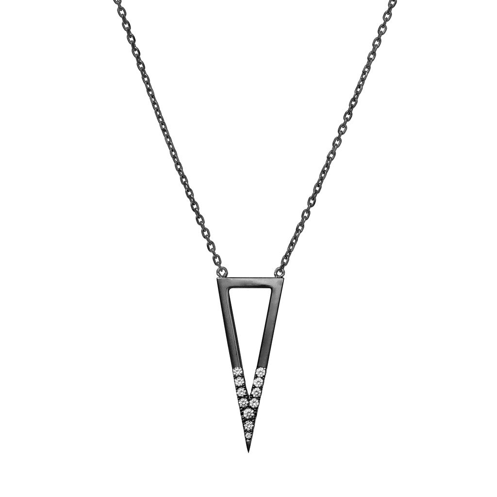 Signature triangle necklace black plated 925 sterling silver studded with cubic zirconia