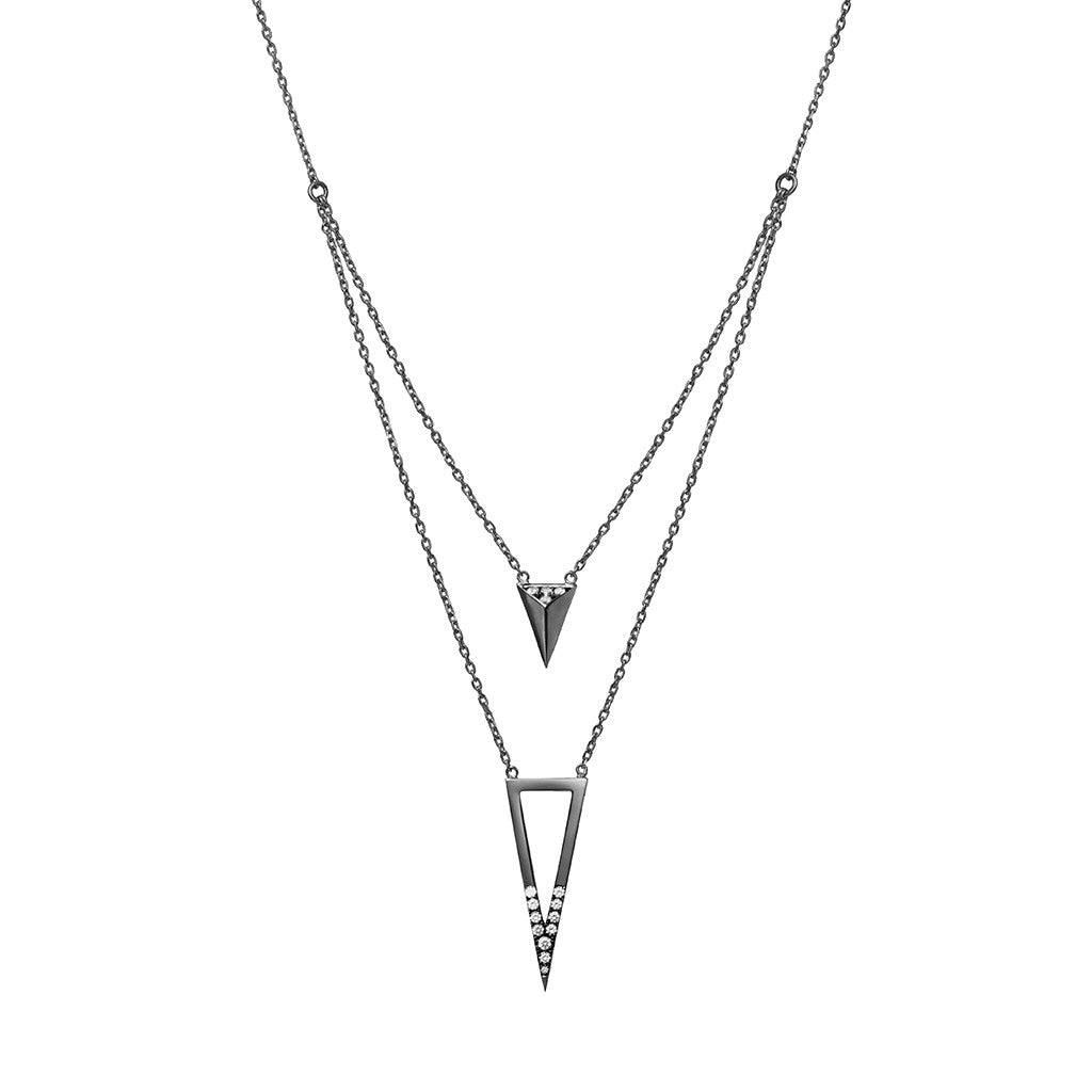 Arrow and triangle necklace black plated 925 sterling silver studded with cubic zirconia