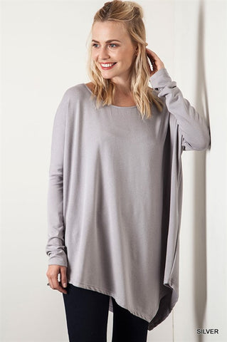 Light Grey Asymmetrical Tunic Top