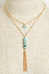 """Stone and Chain"" Layered Tassel Necklaces - Assorted Colors"