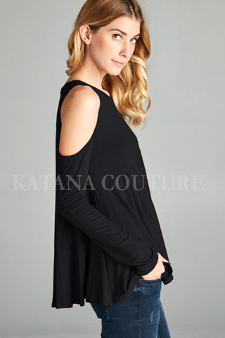 The Coldest Shoulder Long Sleeve Top in Black