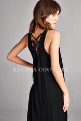 Lace-Up Back Flowy Dress - Black