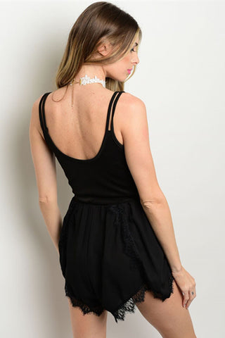 """Dahlia"" Black Satin Romper"
