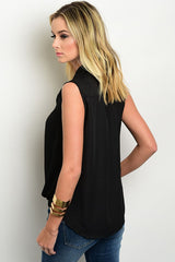 Black Sleeveless Wrap Blouse