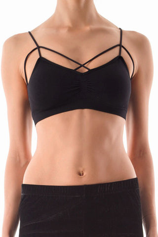 Black Caged Front Strappy Bralette