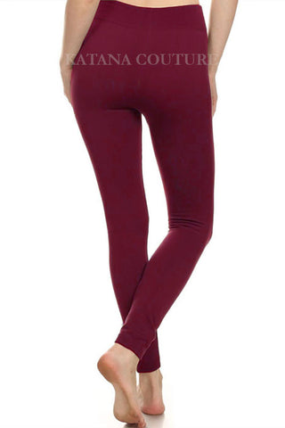 Super Soft Fleece Leggings - Burgundy