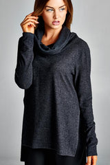 Cowl Neck Sweater Top - Charcoal