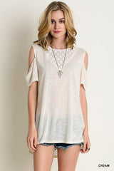 Lace Inset Cold Shoulder Top in Cream