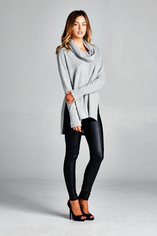 Cowl Neck Sweater Top - Heather Grey