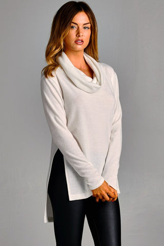 ... Cowl Neck Sweater Top - Ivory