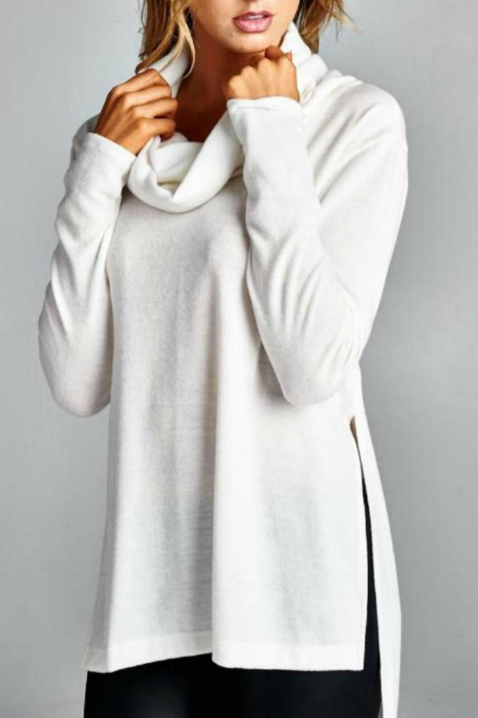 Cowl Neck Sweater Top - Ivory