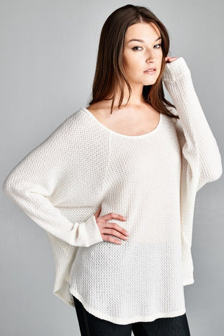Ivory Waffle Knit Thermal Sweater