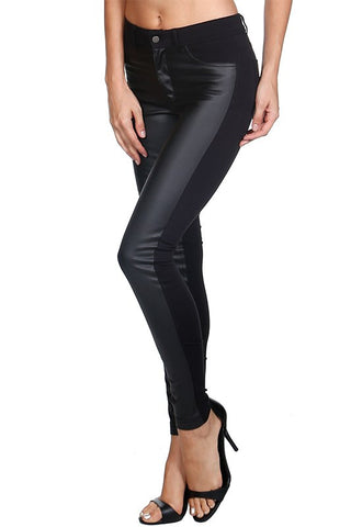 Vegan Leather Contrast Skinny Pants