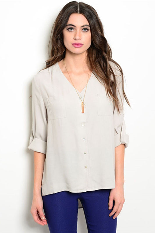 Light Grey Button Up Blouse