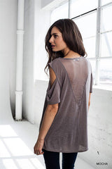 Mesh Inset Cold Shoulder Top in Mocha
