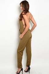 """X- Factor"" Olive Jumpsuit"