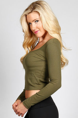 Essential Long Sleeve Crop Top - Olive