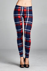Navy Blue Plaid Checkered Leggings
