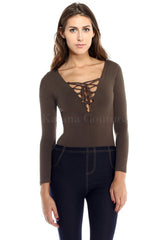 Lace Up Bodysuit - Taupe