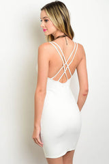 """Venetian"" Strappy Bodycon Dress - Ivory"